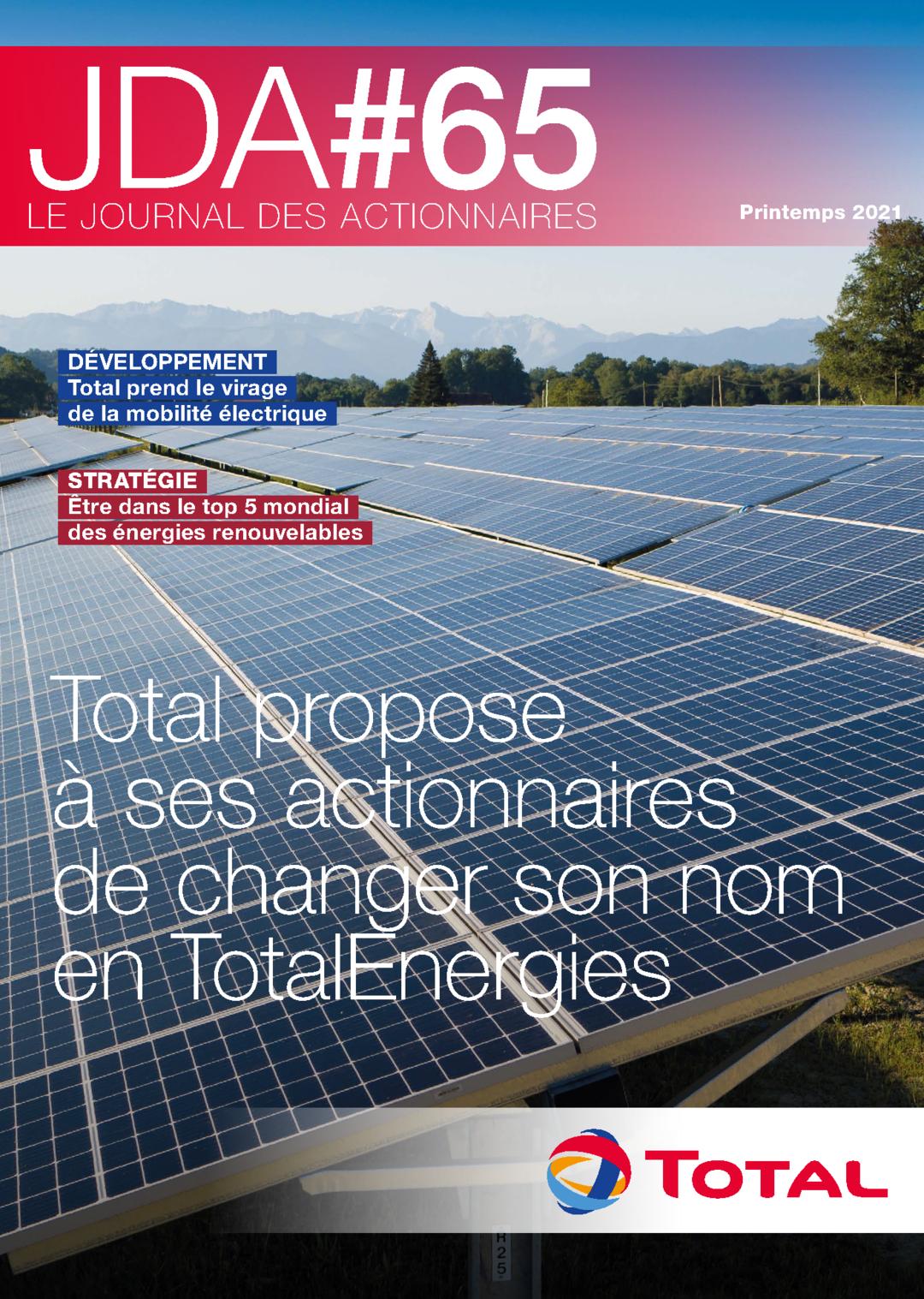 """Couverture - """"Le Journal Des Actionnaires #65 -  Printemps 2021"""""""